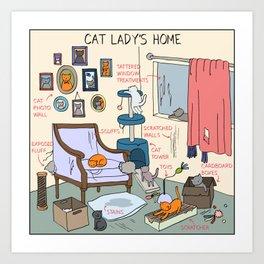 Cat Lady's Home Art Print