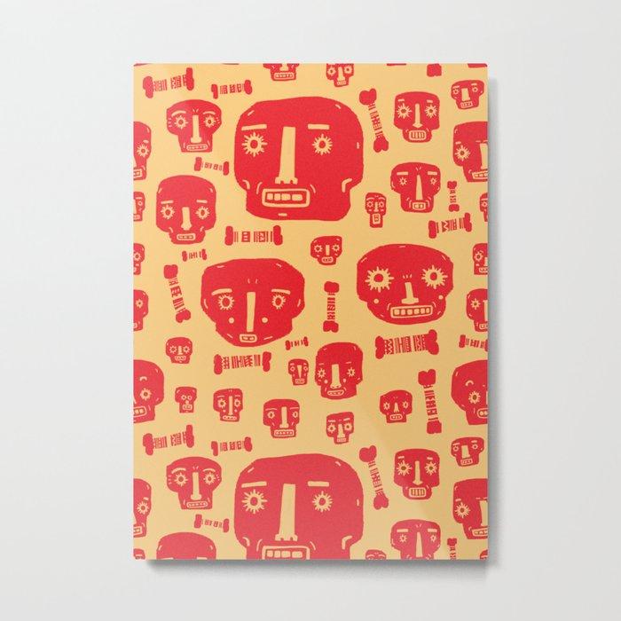 Skulls & Bones - Red/Yellow Metal Print