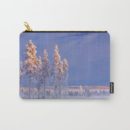 I - Snowy landscape in Finnish Lapland in winter at sunset Carry-All Pouch