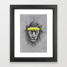 hipster lion Framed Art Print