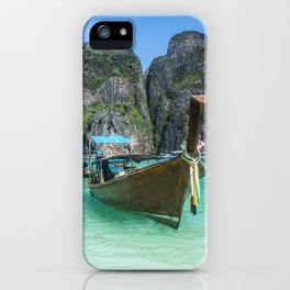 Paradise Island. Long-tail boat floating in transparent water of Maya Bay beach, Thailand. iPhone Case