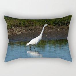 Great Egret on the Shoreline Rectangular Pillow
