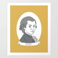 mozart Art Prints featuring Mozart by Julie Gough
