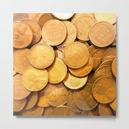 Watercolor Coins, Lincoln Wheat Pennies, 1948 01 Metal Print