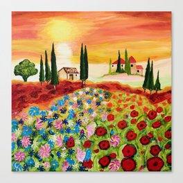 Tuscan Field of Poppies Canvas Print