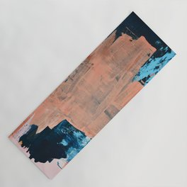Reveal: A vibrant abstract mixed media piece in coral and blue by Alyssa Hamilton Art Yoga Mat