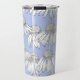 Realistic Daisy pattern on a blue background. Travel Mug