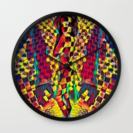 6076-KMA Checkerboard Woman in Color Field Wall Clock