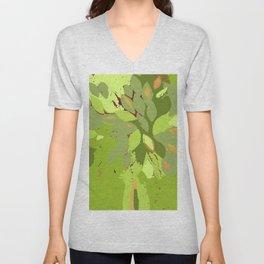 Green tree, mixed media fiber art Unisex V-Neck