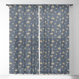 Bees, Bees, BEES! On dark blue background Sheer Curtain
