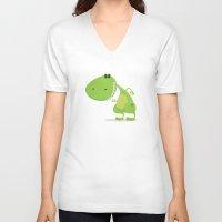 dinosaur V-neck T-shirts featuring dinosaur by Daniel Castrogiovanni