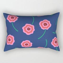 Pink liquid flowers pattern on blue Rectangular Pillow