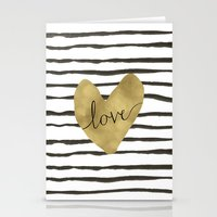 gold foil Stationery Cards featuring Love gold foil heart by Retro Love Photography