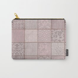 Romantic Pink Damask Patchwork Pattern Carry-All Pouch
