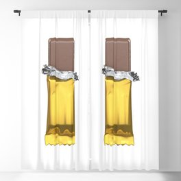 Chocolate candy bar in gold wrapper Blackout Curtain