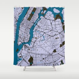 New York Street Map // Blue Theme Shower Curtain