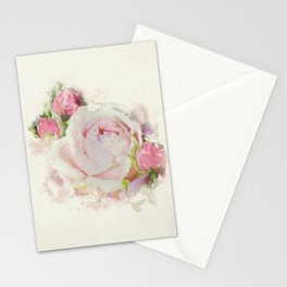 Watercolor Pink Rose Stationery Cards