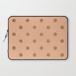 Burly Wood2 Gold Glitter Dot Pattern Laptop Sleeve