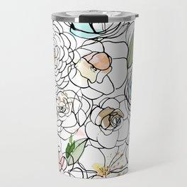 Inky Camellias Gold Travel Mug