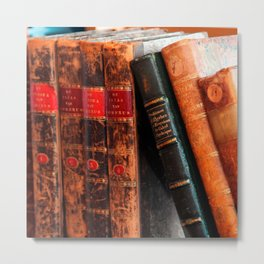 Rustic Antique Library Books Shelf Metal Print