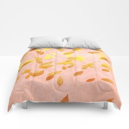 Autumn-world 2 - gold glitter leaves on pink background Comforters