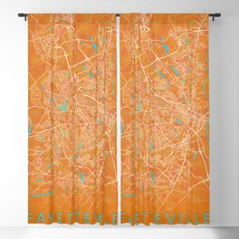 Fayetteville, NC, USA, Gold, Blue, City, Map Blackout Curtain