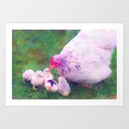 Mama Hen with Chicks Impressionist Painting Art Print