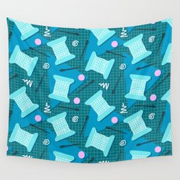 Memphis Sewing in Blue Wall Tapestry