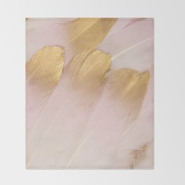 Gold Tipped Pink Feathers Throw Blanket