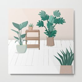 A house with plants is a home Metal Print