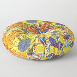 GREY-YELLOW BUTTERFLIES & SUNFLOWERS ARTISTIC HONEYCOMB DRAWING Floor Pillow