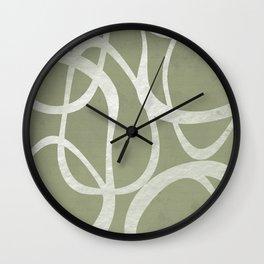 Interlocking | Olive Green & White | Shapes Wall Clock