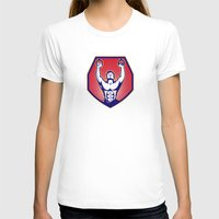 crossfit T-shirts featuring Crossfit Training Athlete Rings Retro by retrovectors