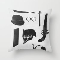 kubrick Throw Pillows featuring 2011: A Kubrick Odyssey by Florent Bodart / Speakerine