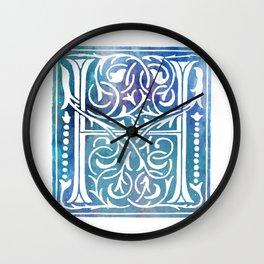 Letter H Antique Floral Letterpress Monogram Wall Clock