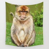 ape Wall Tapestries featuring Barbary ape by Pirmin Nohr