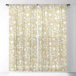 Mid Century Modern Berries Pattern Gold 2 Sheer Curtain