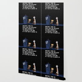 CALVIN AND HOBBES TARDIS Night Stars Wallpaper