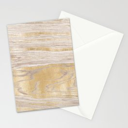 Gold Cream Wood Grain Stationery Cards
