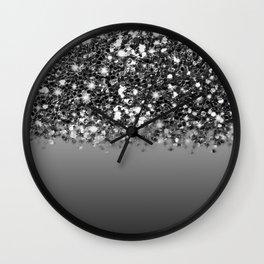 Black & Gunmetal Gray Silver Glitter Ombre Wall Clock