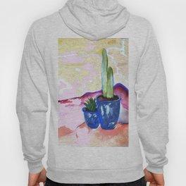 Porch Cactus Vibes - Watercolor Painting Mixed Media Hoody