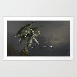 Gargoyle Awekning Art Print