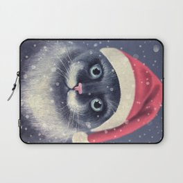 Christmas cat with a mustache Laptop Sleeve