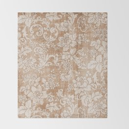 Vintage white brown grunge shabby floral Throw Blanket