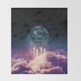 Out of the atmosphere / 3D render of spaceship rising above clouds Throw Blanket