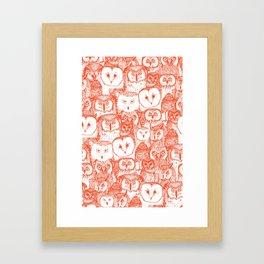 just owls flame orange Framed Art Print