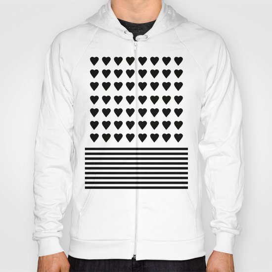 Heart Stripes Black on White Hoody