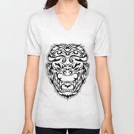 Tribal Monkey Head Unisex V-Neck