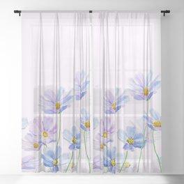 purple cosmos flowers in bloom Sheer Curtain