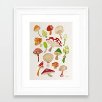mushrooms Framed Art Prints featuring Mushrooms by Cat Coquillette